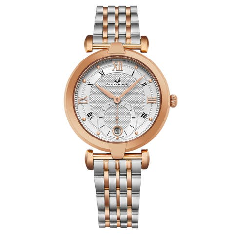 Alexander Women's Swiss Made Olympias Two Tone Stainless Steel Link Bracelet Watch