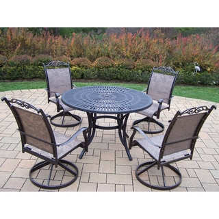 Radiance 5 Pc Dining Set with Table and 4 Sling Swivel Rockers in Coffee