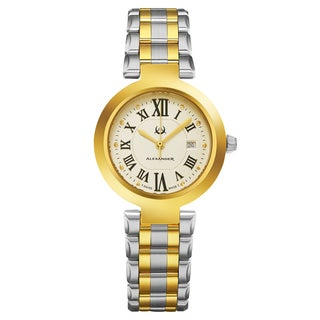 Alexander Women's Swiss Made Niki Two Tone Stainless Steel Link Bracelet Watch