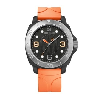 Hugo Boss Orange Men's 1512665 Analog Black Dial Orange Rubber Watch