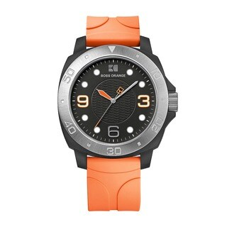 Hugo Boss Orange Men's 1512665 Analog Black Dial Orange Rubber Watch