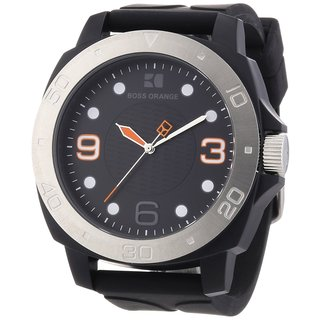 Hugo Boss Orange Men's 1512664 Analog Black Dial Black Rubber Watch