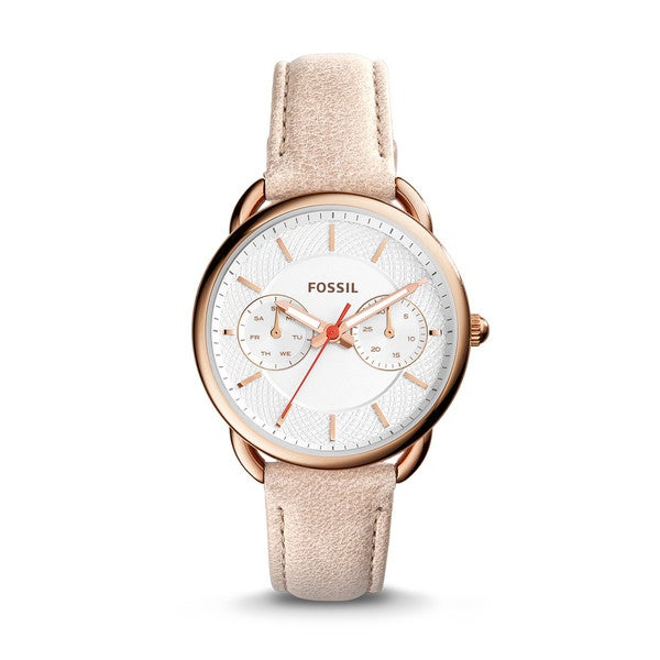 02a24d6000db Shop Fossil Women s ES4007 Tailor Multi-Function Silver Dial Sand Leather  Watch - Free Shipping Today - Overstock - 13831767