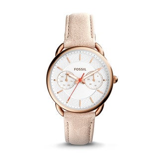 Fossil Women's ES4007 Tailor Multi-Function Silver Dial Sand Leather Watch