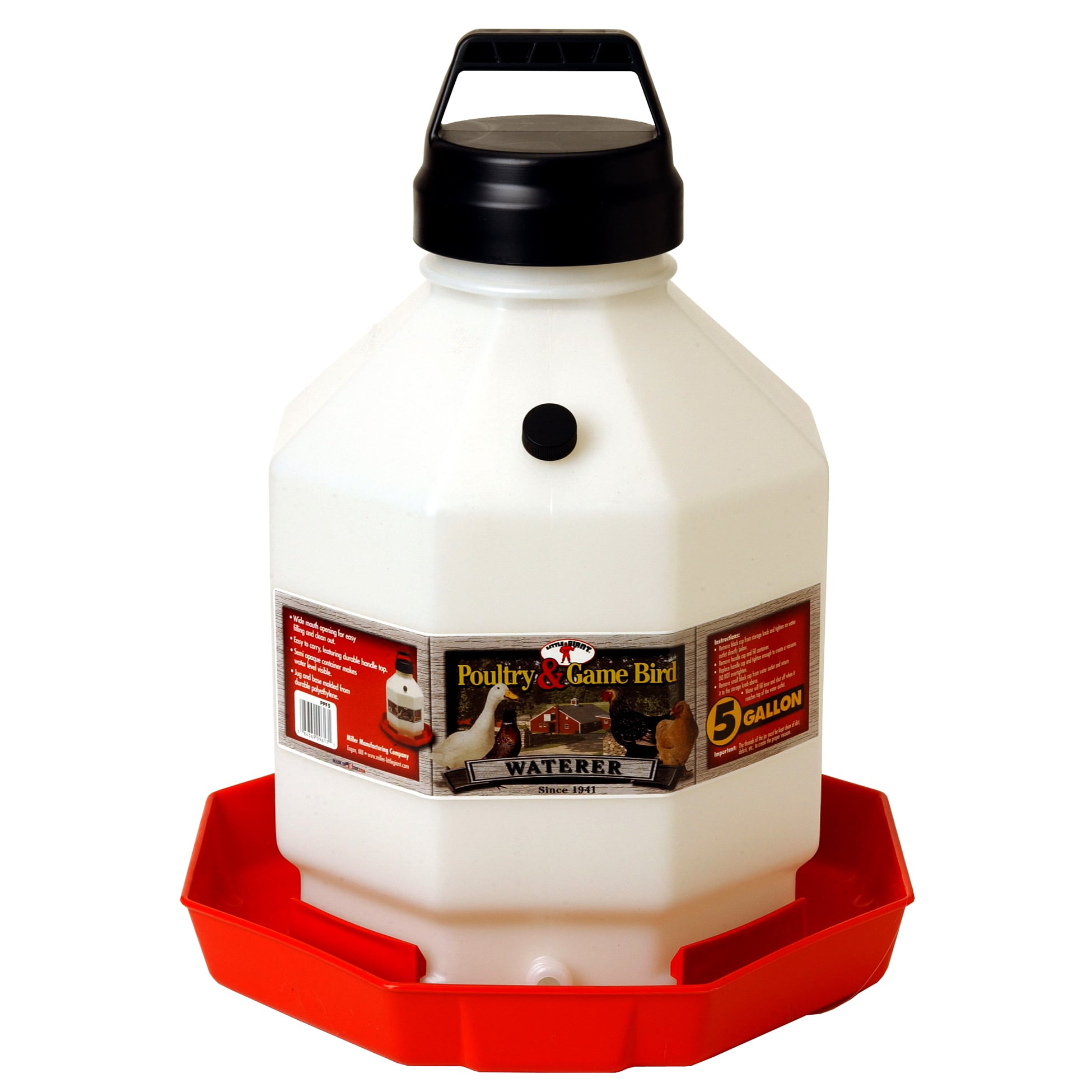 Miller Pet Lodge 5 Gallon Red Plastic Poultry Waterer (Wa...