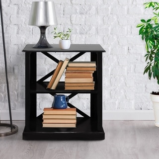 Bay View Modern Wood Open 3-shelf Bookcase with X-Detailing