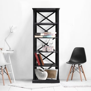 Bay View Modern Wood Open 6-shelf Bookcase with X-Detailing