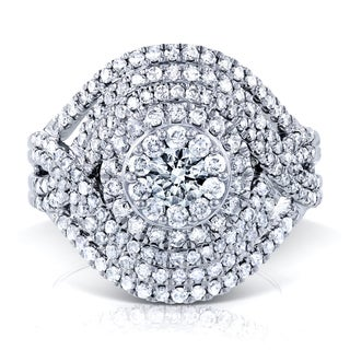 Annello by Kobelli 10k White Gold 1 1/2ct TDW Diamond Cluster Composite Cocktail Ring (HI, I2)
