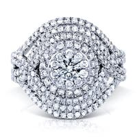 Annello by Kobelli 10k White Gold 1 1/2ct TDW Diamond Cluster Composite Cocktail Ring
