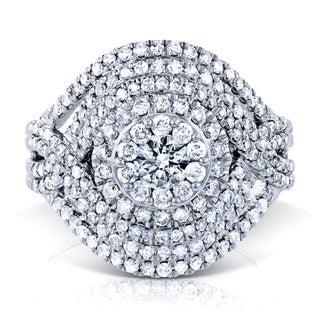 Annello by Kobelli 10k White Gold 1 1/2ct TDW Diamond Cluster Composite Cocktail Ring