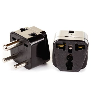 OREI 2 in 1 USA to India Adapter Plug (Type D) - 4 Pack, Black