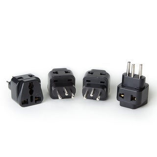 OREI 2 in 1 USA to Switzerland Adapter Plug (Type J) - 4 Pack, Black