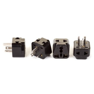 OREI 2 in 1 USA to Australia/China Adapter Plug (Type I) - 4 Pack, Black