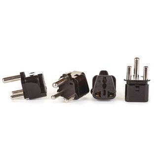 OREI 2 in 1 USA to South Africa Adapter Plug (Type M) - 4 Pack, Black