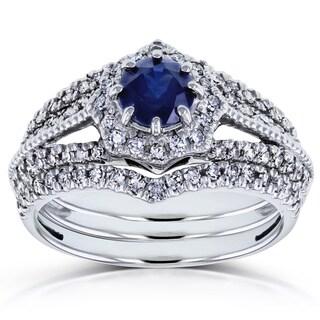 Annello by Kobelli 14k White Gold Sapphire and 3/5ct TDW Diamond Star Halo 3-Ring Bridal Set (H-I, I1-I2)