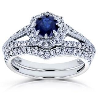 Annello by Kobelli 14k White Gold Sapphire and 1/2ct TDW Diamond Star Halo Bridal Set (H-I, I1-I2)