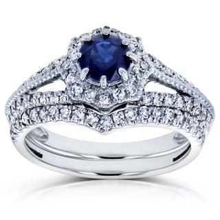 Annello by Kobelli 14k White Gold Sapphire and 1/2ct TDW Diamond Star Halo Bridal Set (H-I, I1-I2)
