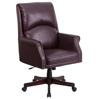 Clifton Burgundy Leather Executive Adjustable Swivel Office Chair
