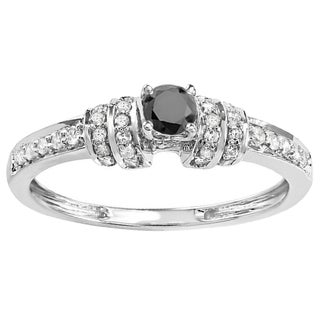 10k White Gold 3/8ct TDW Round Black And White Diamond Engagement Bridal Ring (H-I & Black, I1-I2 & Opaque)