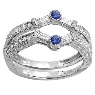 18k White Gold 1/2ct Round & Baguette White Diamond & Blue Sapphire Wedding Band (H-I & Blue, I1-I2 & Highly Included)