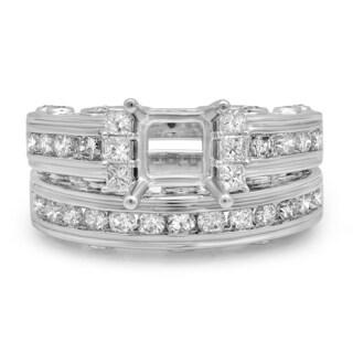 14k Gold 1 3/4ct TDW Princess & Round Diamond Bridal Semi Mount Engagement Ring With Matching Band Set (H-I & I1-I2)