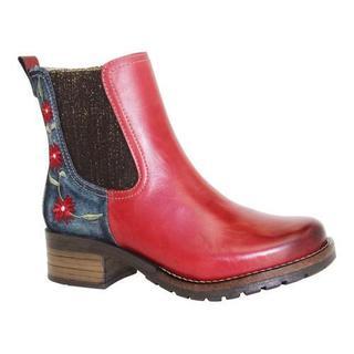 Women's Dromedaris Kourtney Denim Chelsea Boot Red Leather