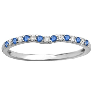 10k White Gold 1/4ct Round Blue Sapphire & Diamond Anniversary Wedding Ring Matching Band (I-J & Blue, I2-I3 & Highly Included)