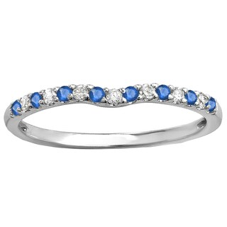 18k White Gold 1/4ct Round Blue Sapphire & Diamond Anniversary Wedding Ring Matching Band (I-J & Blue, I2-I3 & Highly Included)