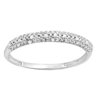 10k Gold 1/10ct TDW Round Diamond Anniversary Wedding Band Stackable Ring (I-J, I2-I3)