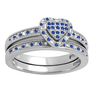 Sterling Silver 1/4ct Round Blue Sapphire & Diamond Heart Shaped Engagement Ring Set (I-J & Blue, I2-I3 & Highly Included)