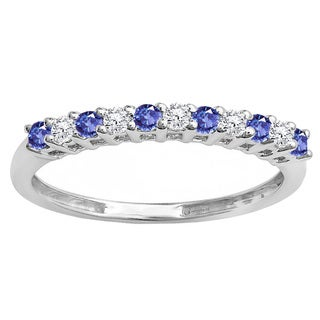 10k Gold 1/3ct Round Tanzanite & Diamond Anniversary Stackable Wedding Band (I-J & Violet-Blue, I2-I3 & Moderately Included)