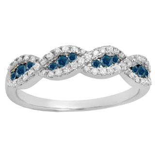 10k Gold 1/3ct TDW Round Blue Diamond Swirl Anniversary Wedding Band Stackable Ring (Blue)