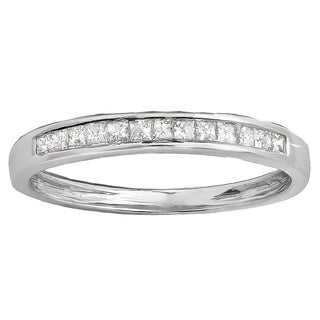 10k Gold 1/3ct TDW Princess Diamond Anniversary Wedding Matching Band Stackable Ring (H-I, I1-I2)