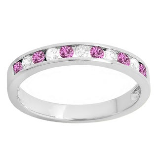 14k Gold 1/4ct Round Pink Sapphire & White Diamond Anniversary Wedding Stackable Band (I-J & Pink, I2-I3 & Highly Included)