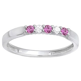 10k White Gold 1/4ct Round Pink Sapphire And White Diamond 5 Stone Wedding Band (I-J & Pink, I2-I3 & Highly Included)