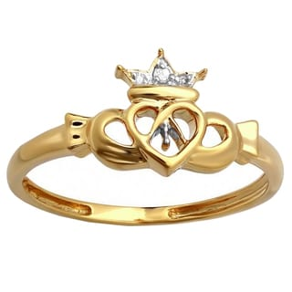 10k Yellow Gold 1/2ct TDW Round White Diamond Bridal Promise Irish Love And Friendship Band Heart Ring (I-J & I2-I3)