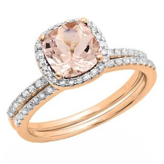 10k Rose Gold 7/8 CT Cushion Morganite & Round White Diamond Halo Engagement Ring Band Set (I-J,Pink & I1-I2,Moderately Clarity)
