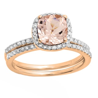 10k Rose Gold 7/8 CT Cushion Morganite & Round White Diamond Halo Engagement Ring Band Set (I-J,Pink & I1-I2,Moderately Clarity)