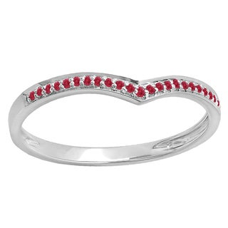 14k Gold 1/10ct Round Ruby Wedding Stackable Band Anniversary Guard Chevron Ring (Red, Highly Included)