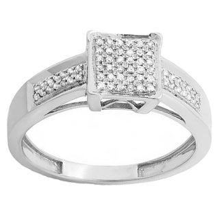 Sterling Silver 1/5ct TDW Round White Diamond Men & Micro Pave Engagement Ring (I-J, I2-I3)