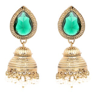 Liliana Bella Goldplated Teardrop Pearl Jhumki Earrings With Green Glass