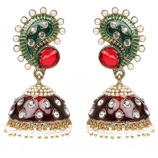 Liliana Bella Maroon And Green Enamel Pearl Jhumki Dangle Earrings With Cubic Zirconia