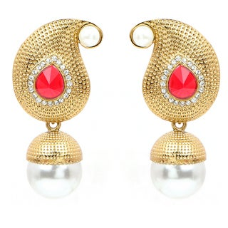 Liliana Bella Goldplated Pearl Drop Dangle Earrings With Cubic Zirconia And Red Glass