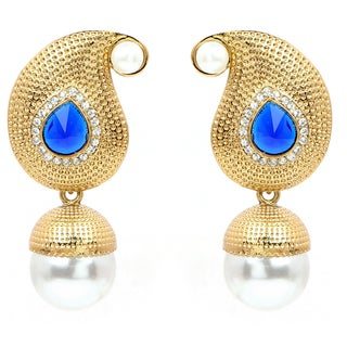 Liliana Bella Goldplated Pearl Drop Dangle Earrings With White Cubic Zirconia And Blue Glass