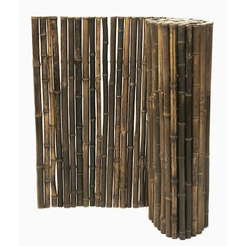 Black Bamboo Panel Fence for Backyard and Garden 3 ft. H x 8 ft. L x 1 in. D