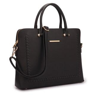Dasein Front Stitching Women's Shoulder Briefcase (Option: Black)