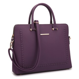 Dasein Front Stitching Women's Shoulder Briefcase (Option: Dark Purple)