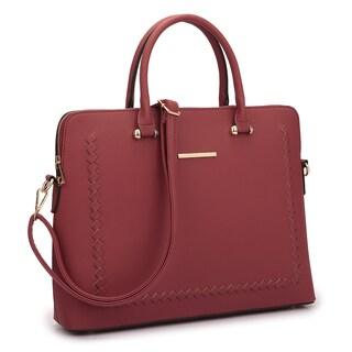 Dasein Front Stitching Women's Shoulder Briefcase (Option: Burgundy)