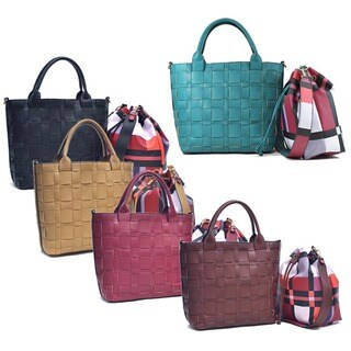 Dasein Faux Leather Checkered/Plaid Designed Tote with Bucket Bag