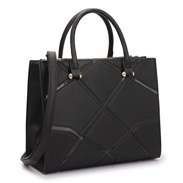 Dasein Medium Front Crosshatch Patch Classic Satchel Handbag ...